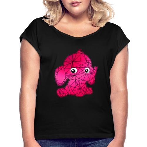 Éléphant géométrique - T-shirt à manches retroussées Femme