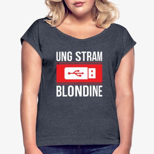 Ung Stram Blondine - Hvid - Dame T-shirt med rulleærmer