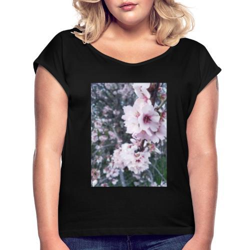 Vetement avec image fleurs de sakura - T-shirt à manches retroussées Femme