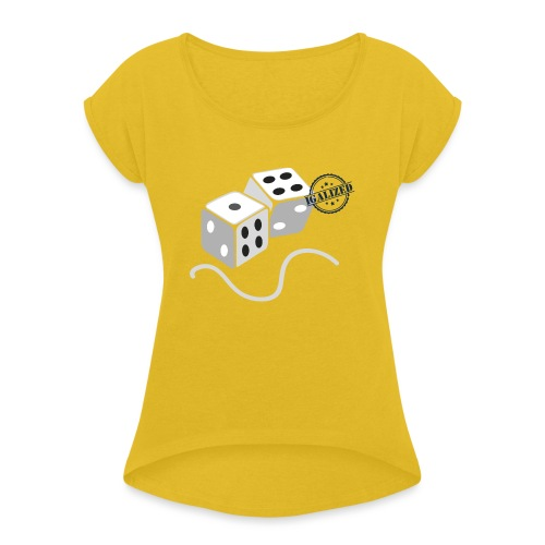 Dice - Symbols of Happiness - Women's T-Shirt with rolled up sleeves