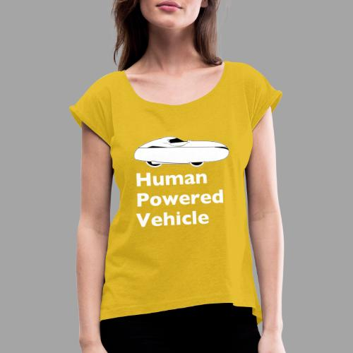 Quest Human Powered Vehicle 2 white - Naisten T-paita, jossa rullatut hihat