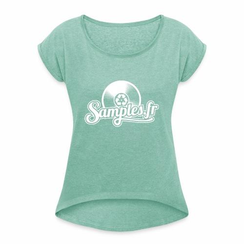 Samples.fr noir - T-shirt à manches retroussées Femme