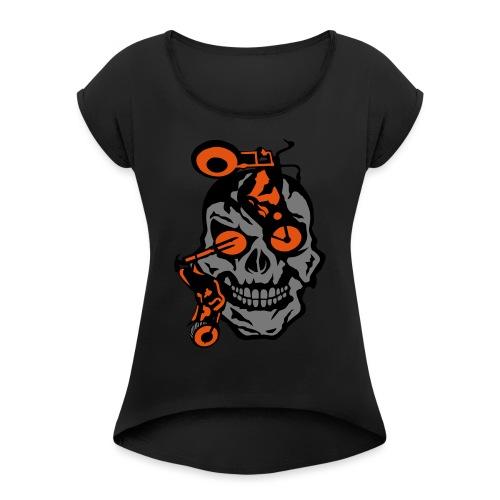 tete mort moto motrocycle oeil skull - T-shirt à manches retroussées Femme