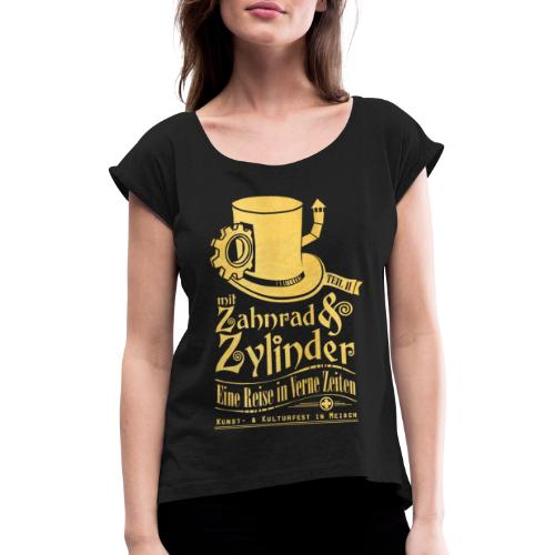 ZuZ 2018 + Brust- & Rückenmotiv - Frauen T-Shirt mit gerollten Ärmeln