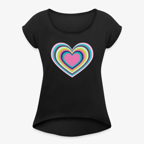 Psychedelic Heart - Women's T-Shirt with rolled up sleeves