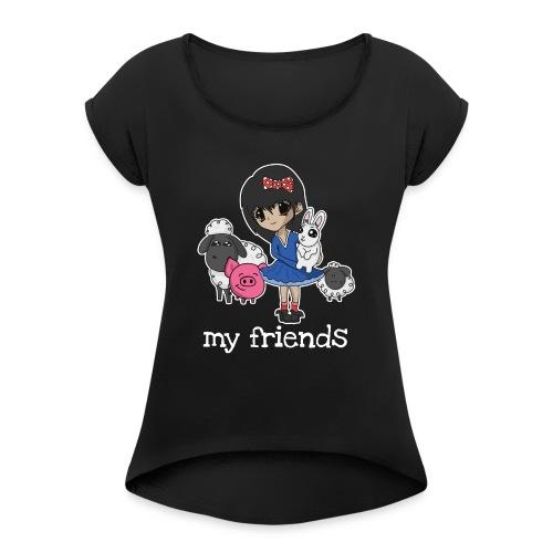 Vegan Company Girlie Design - Frauen T-Shirt mit gerollten Ärmeln