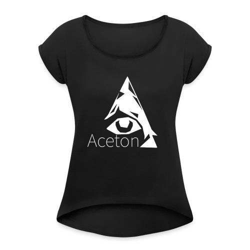 Aceton white png - Frauen T-Shirt mit gerollten Ärmeln