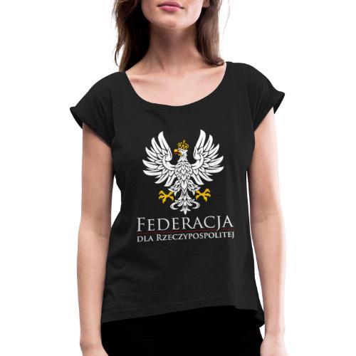 fdr biały napis - Koszulka damska z lekko podwiniętymi rękawami