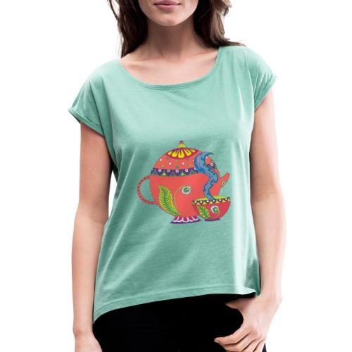 L'heure du thé - T-shirt à manches retroussées Femme