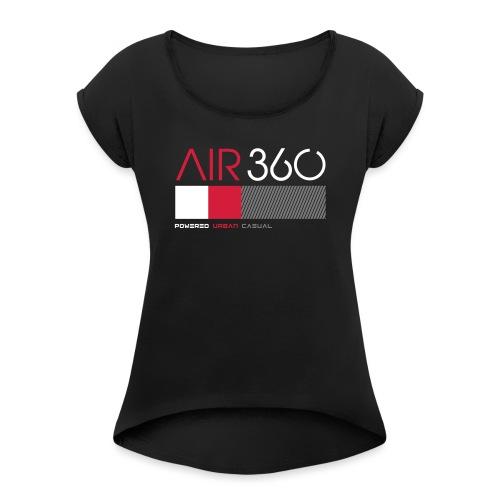 Air360black - Camiseta con manga enrollada mujer