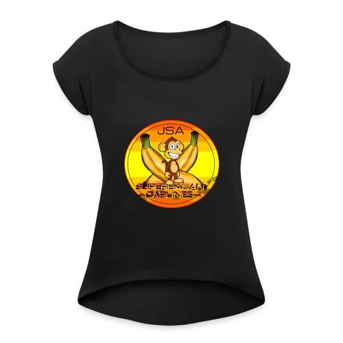 SUPERBANAN CARLINES: JSA - T-skjorte med rulleermer for kvinner