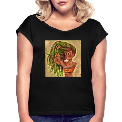 meduaa - Vrouwen T-shirt met opgerolde mouwen