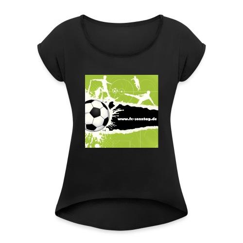FC Sonntag Weblogo - Frauen T-Shirt mit gerollten Ärmeln