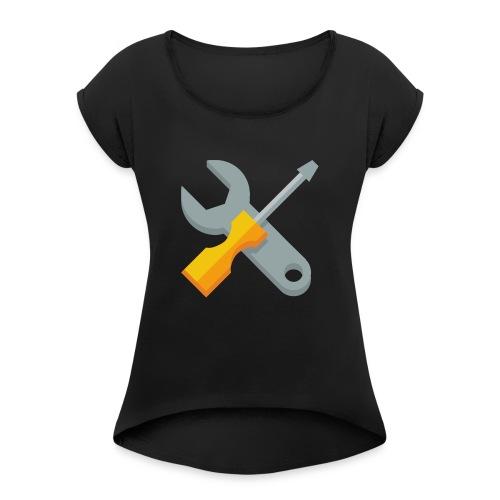 wrench screwdriver icon - Vrouwen T-shirt met opgerolde mouwen