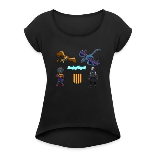 Het echte MonkeyPlaysNL Merch Shop - Vrouwen T-shirt met opgerolde mouwen