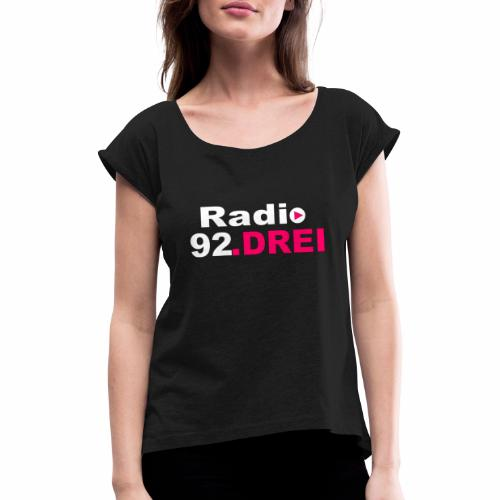 shop logo - Frauen T-Shirt mit gerollten Ärmeln