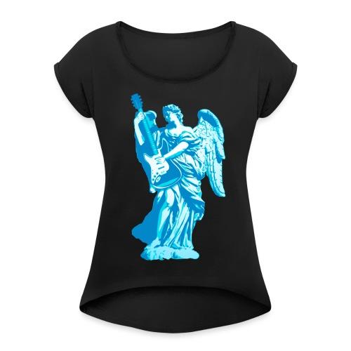 Engel 2018 blauw - Vrouwen T-shirt met opgerolde mouwen