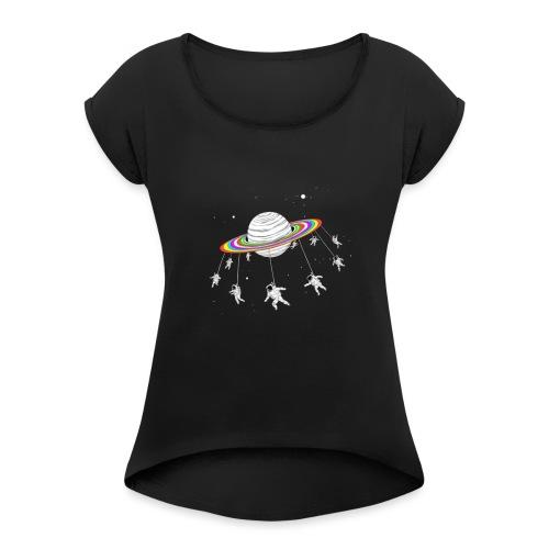 planeta - Camiseta con manga enrollada mujer