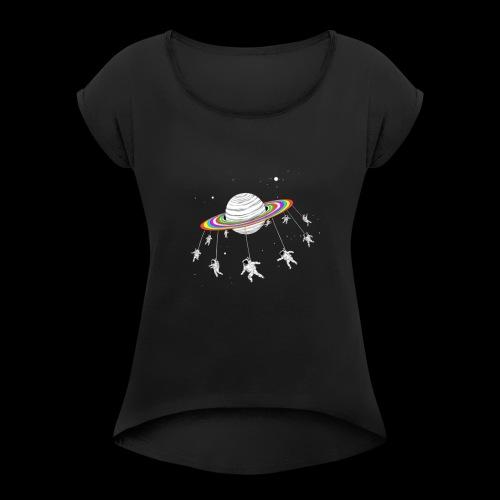240020208033212 - Camiseta con manga enrollada mujer