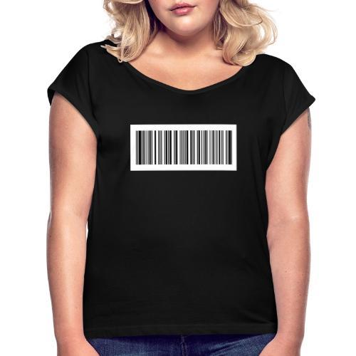 QR-Code - Frauen T-Shirt mit gerollten Ärmeln