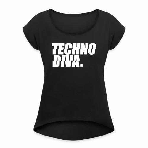 Techno DlVA Rave Princess Hard Techno Kind Music - Frauen T-Shirt mit gerollten Ärmeln