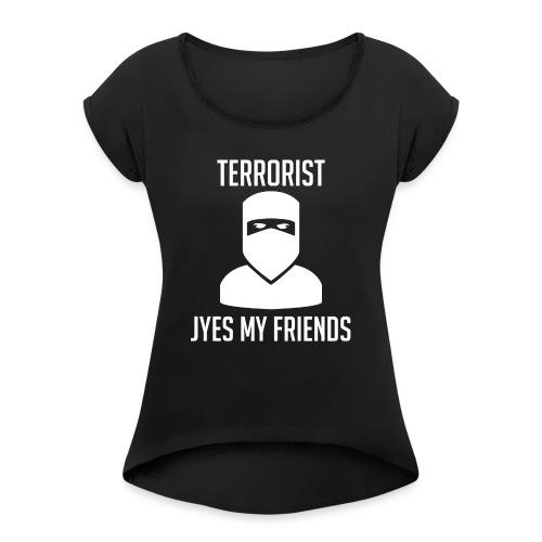 Jyes my friend - T-shirt med upprullade ärmar dam