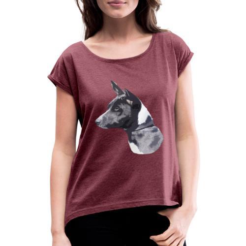 basenji black - Dame T-shirt med rulleærmer