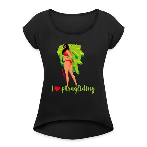 Frau mit Gleitschirm - Frauen T-Shirt mit gerollten Ärmeln