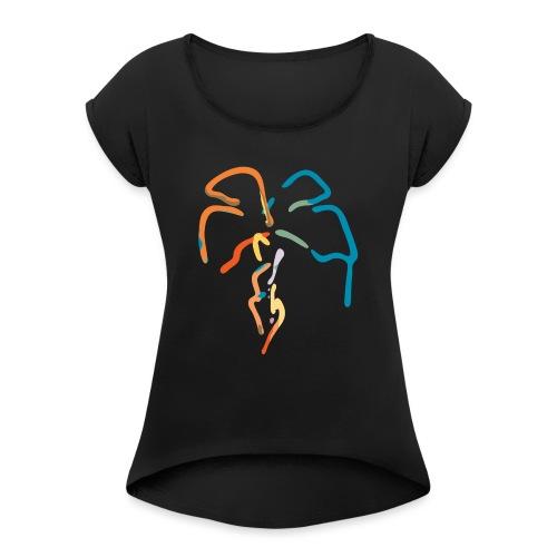 Farverig palme - Dame T-shirt med rulleærmer