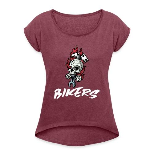biker 666 - T-shirt à manches retroussées Femme