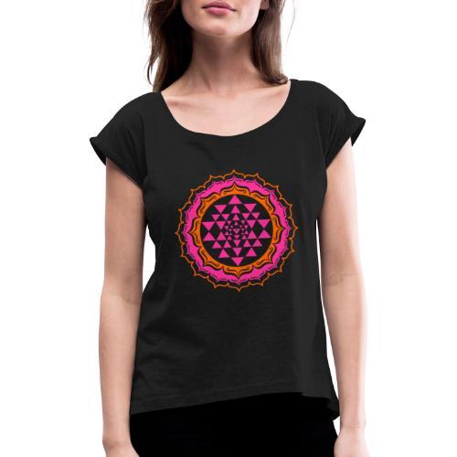 Sri Yantra - pink & orange - Dame T-shirt med rulleærmer