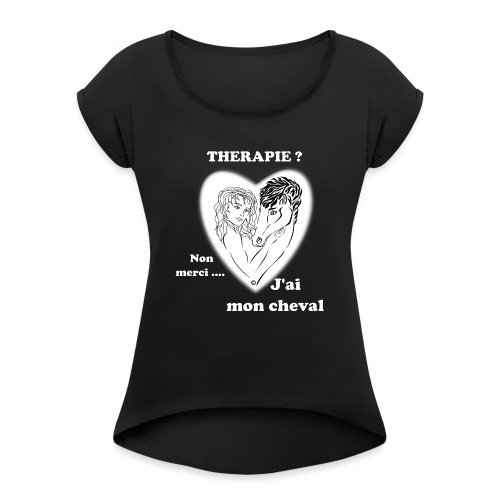 cheval thérapie FS - T-shirt à manches retroussées Femme