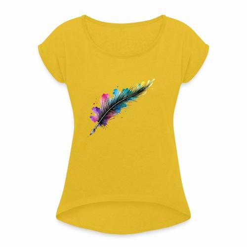 penna piuma - Maglietta da donna con risvolti