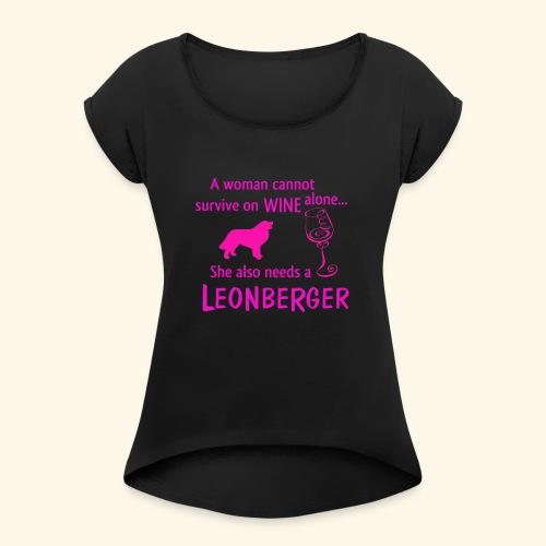 Wine&Leonberger - T-shirt med upprullade ärmar dam