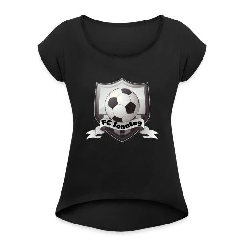 FC Sonntag Logo - Frauen T-Shirt mit gerollten Ärmeln
