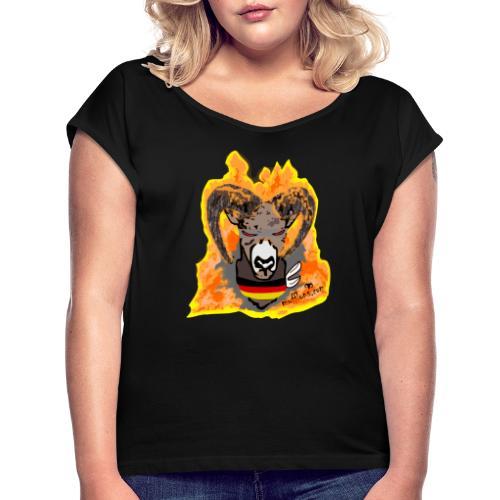 Mufflon in Flammen Germ - Frauen T-Shirt mit gerollten Ärmeln