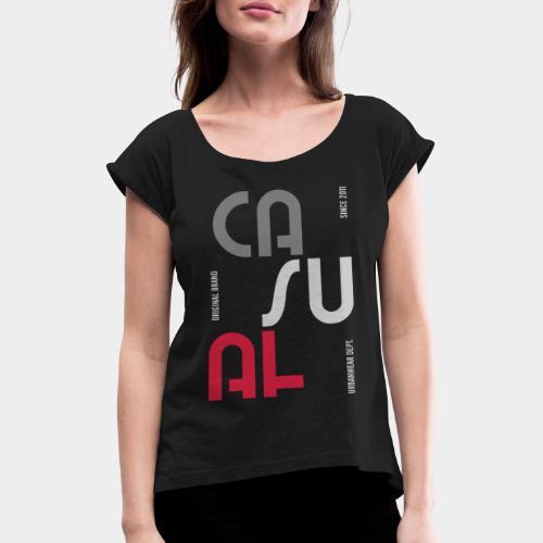casual wear fashion style - T-shirt à manches retroussées Femme