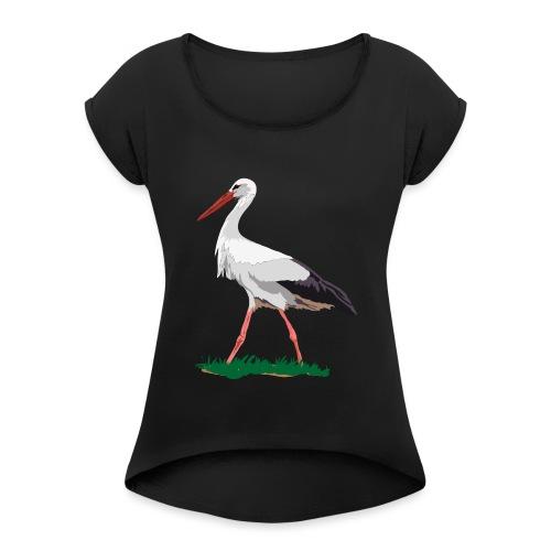 Weißstorch - Frauen T-Shirt mit gerollten Ärmeln
