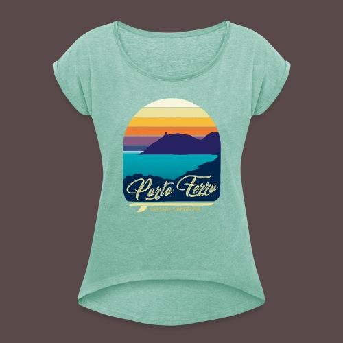 Porto Ferro - Vintage travel sunset - Maglietta da donna con risvolti