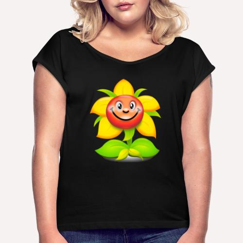 Smiling Face Happy Flower - Women's T-Shirt with rolled up sleeves