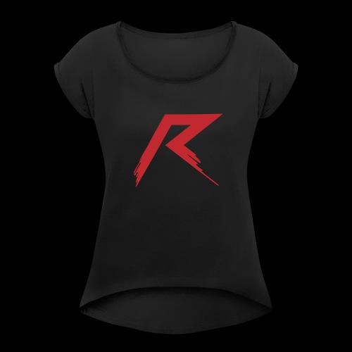 Raffie Logo - Vrouwen T-shirt met opgerolde mouwen