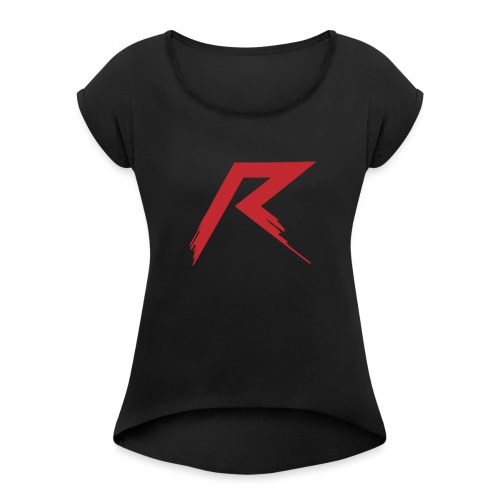 R Logo - Vrouwen T-shirt met opgerolde mouwen