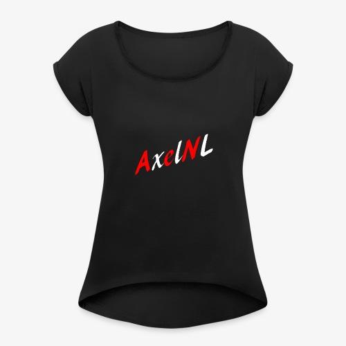 AxelNL - ROOD - Vrouwen T-shirt met opgerolde mouwen