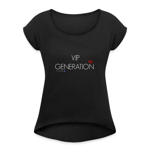 Generation white - Frauen T-Shirt mit gerollten Ärmeln