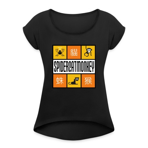 Band-Logo SPIDERCATMONKEY, orange - Frauen T-Shirt mit gerollten Ärmeln