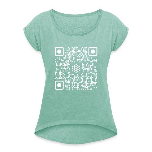 QR Safenetforum White - Women's T-Shirt with rolled up sleeves