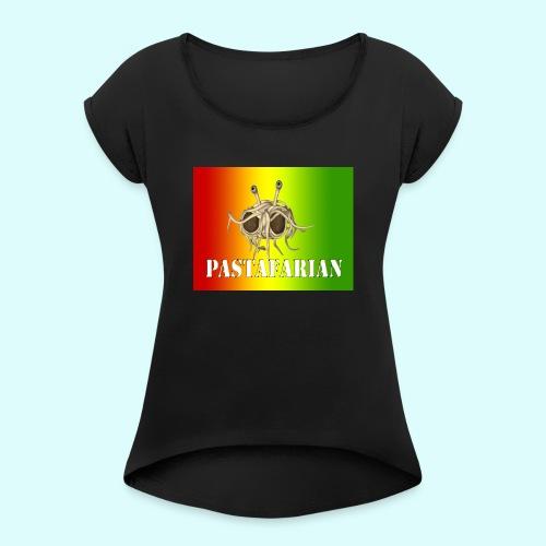 Reggae pastafarian - Vrouwen T-shirt met opgerolde mouwen