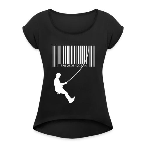 Código de barra y escalante - Camiseta con manga enrollada mujer