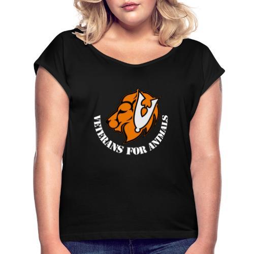 logo wit - Vrouwen T-shirt met opgerolde mouwen