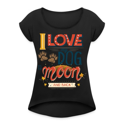 Moon Dog Light - T-shirt med upprullade ärmar dam